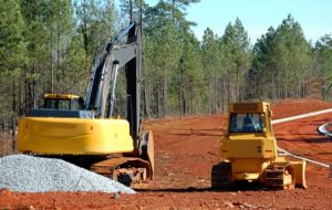 heavy construction machinery in a newly developed subdivision