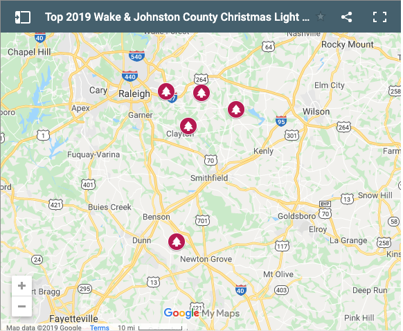 2019 Google Map of the Best LChristmas Light Displays in WakeCo and JoCo