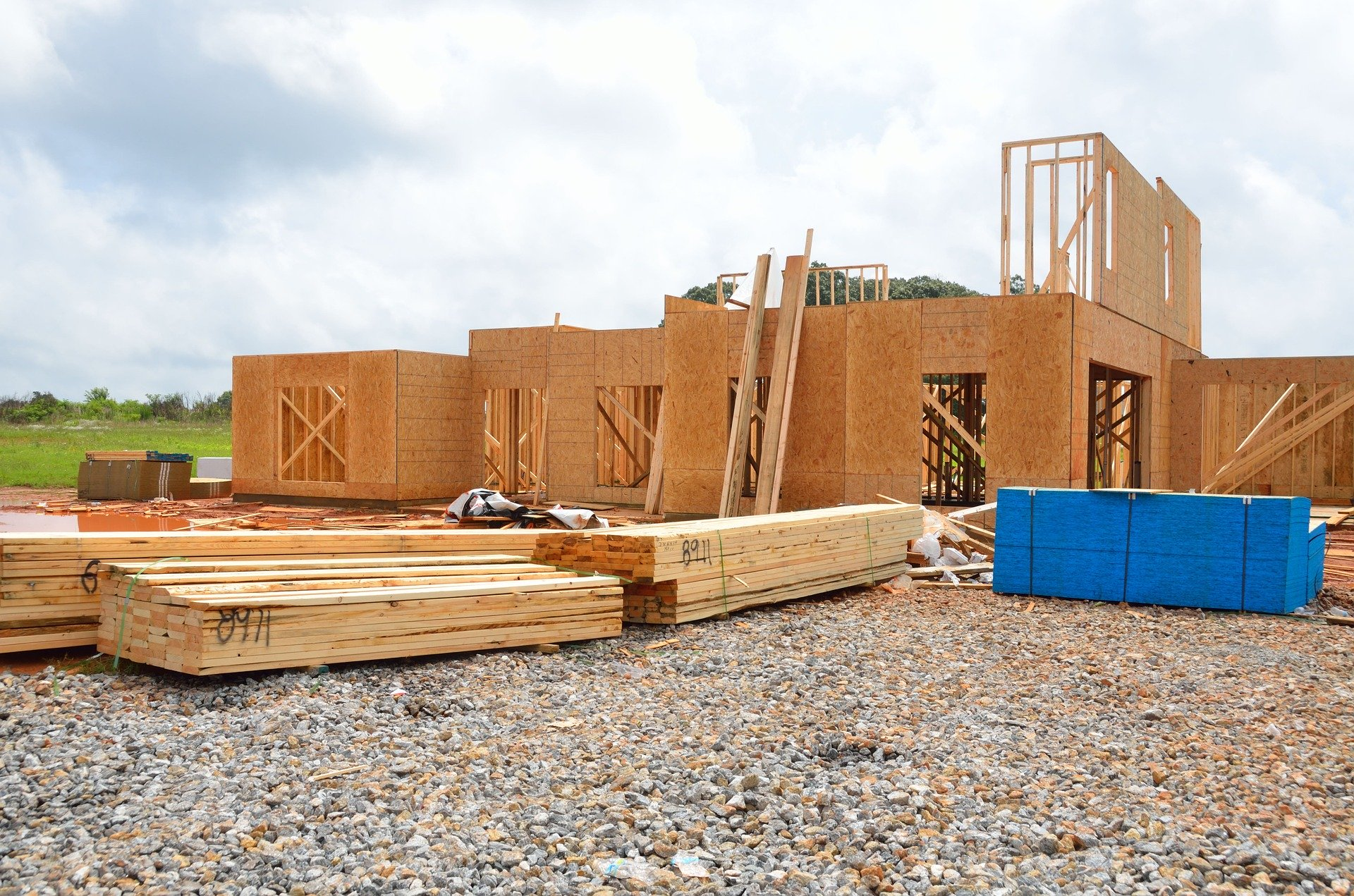 Soft lumber is used for framing a new home