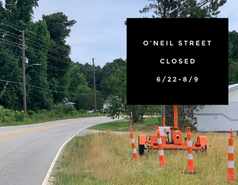 oneil street closed sign